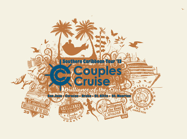Couples Cruise design 2 by Greg Dampier - Illustrator & Graphic Artist of Portland, Oregon
