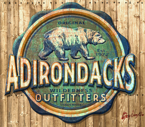 Adirondack Outfitters vintage sign by Greg Dampier - Illustrator & Graphic Artist of Portland, Oregon