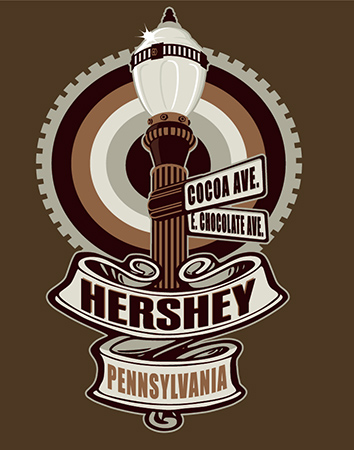 Hershey PA Lamp Post Street Signs by Greg Dampier - Illustrator & Graphic Artist of Portland, Oregon