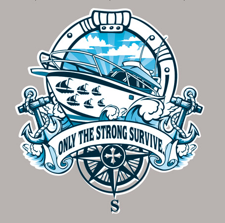 strong speed boat tee by Greg Dampier - Illustrator & Graphic Artist of Portland, Oregon