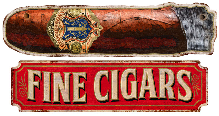 Fine Cigars vintage sign by Greg Dampier - Illustrator & Graphic Artist of Portland, Oregon