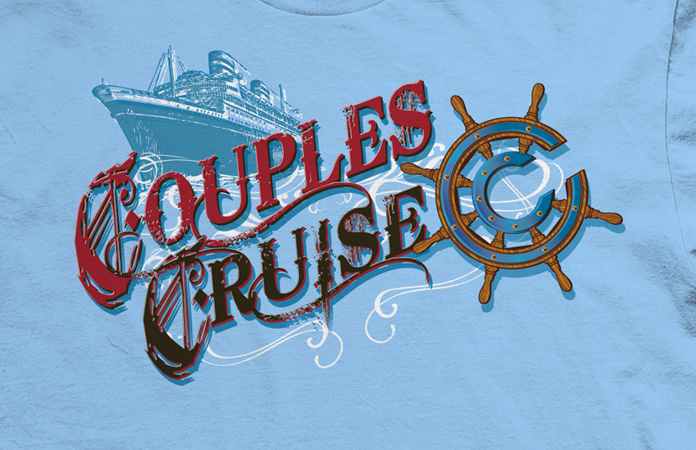couples cruise ship logo by Greg Dampier - Illustrator & Graphic Artist of Portland, Oregon