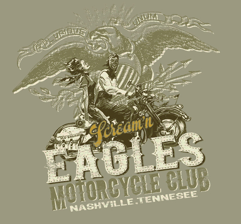 SCREAMIN EAGLES MOTORCYCLE CLUB by Greg Dampier - Illustrator & Graphic Artist of Portland, Oregon