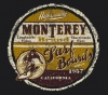 T Shirts • Travel Souvenir • Monterey Surfer Guy Gold Maroon by Greg Dampier All Rights Reserved.