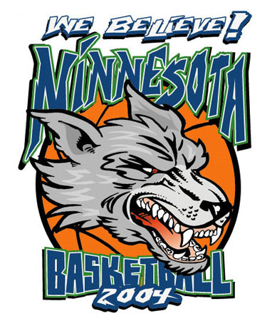 Minnesota Basketball Wolves1 by Greg Dampier - Illustrator & Graphic Artist of Portland, Oregon