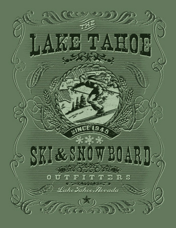 Lake tahoe Ski and snowboard by Greg Dampier - Illustrator & Graphic Artist of Portland, Oregon