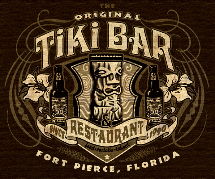 tiki bar and restaurant tee 2 by Greg Dampier - Illustrator & Graphic Artist of Portland, Oregon