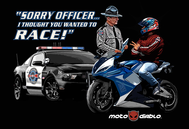 Sorry officer sportbike traffic stop by Greg Dampier - Illustrator & Graphic Artist of Portland, Oregon