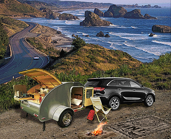 Camping Pacific Northwest coast by Greg Dampier - Illustrator & Graphic Artist of Portland, Oregon