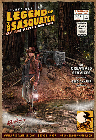 Legend Of Sasquatch of the Pacific Northwest magazine by Greg Dampier - Illustrator & Graphic Artist of Portland, Oregon