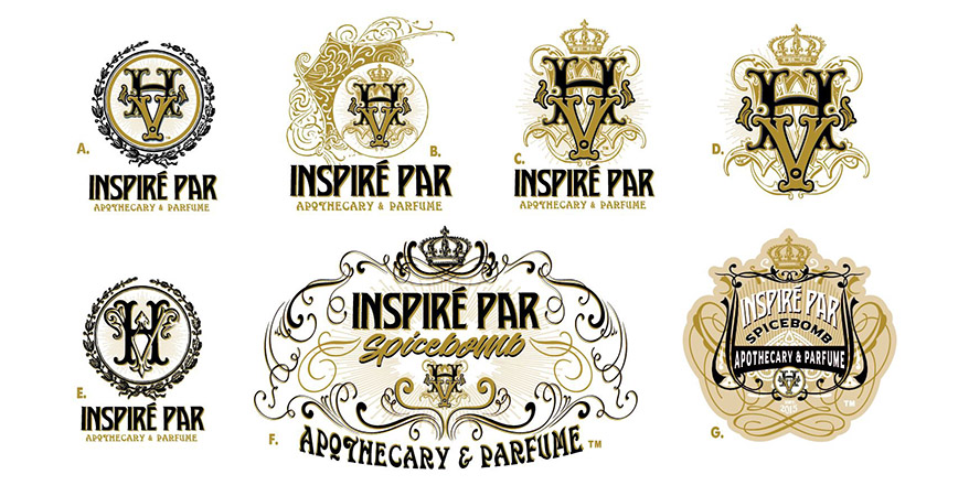 Inspire Par Labels and logos by Greg Dampier - Illustrator & Graphic Artist of Portland, Oregon