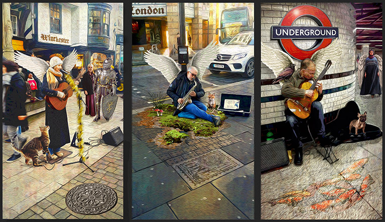 Angels of London Triptych by Greg Dampier - Illustrator & Graphic Artist of Portland, Oregon
