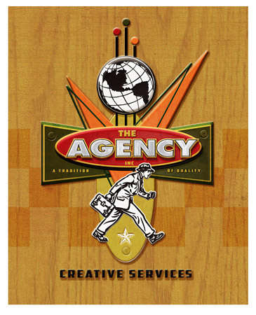 The Agency Creative Services 3d metal door sign by Greg Dampier - Illustrator & Graphic Artist of Portland, Oregon