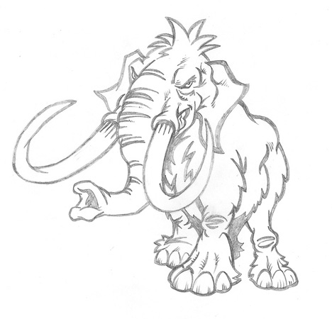 Mammoth sketch by Greg Dampier - Illustrator & Graphic Artist of Portland, Oregon