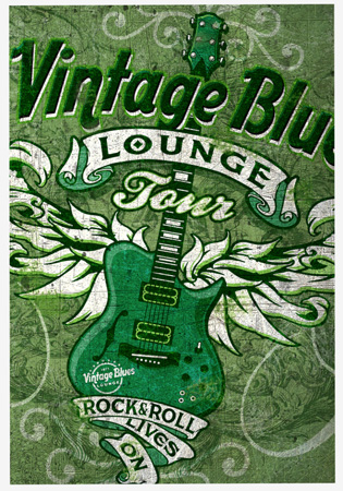 Vintage Blues Lounge Green by Greg Dampier - Illustrator & Graphic Artist of Portland, Oregon
