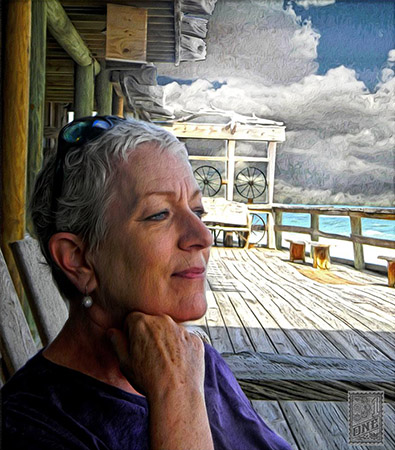 Marion Tonner relaxed at Vero beach by Greg Dampier - Illustrator & Graphic Artist of Portland, Oregon