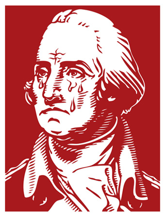 George Washington crying over state of America by Greg Dampier - Illustrator & Graphic Artist of Portland, Oregon
