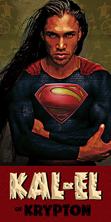 First Nations Superman Kal El native American close full by Greg Dampier - Illustrator & Graphic Artist of Portland, Oregon