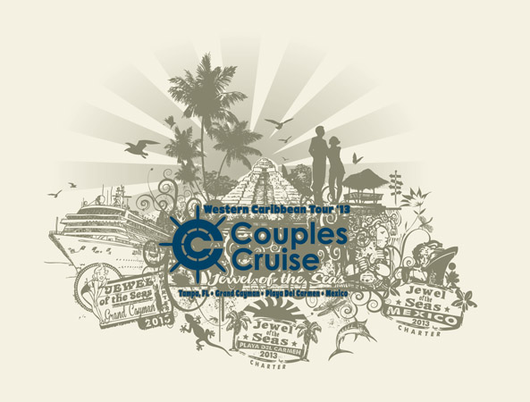 Couples Cruise design 1 by Greg Dampier - Illustrator & Graphic Artist of Portland, Oregon