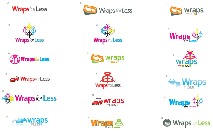 rwraps for less logos 2 by Greg Dampier - Illustrator & Graphic Artist of Portland, Oregon