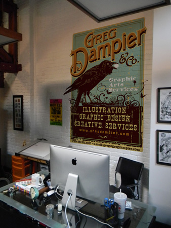 promo on office wall by Greg Dampier - Illustrator & Graphic Artist of Portland, Oregon