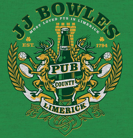 JJ Bowles Pub Tee Limerick by Greg Dampier - Illustrator & Graphic Artist of Portland, Oregon