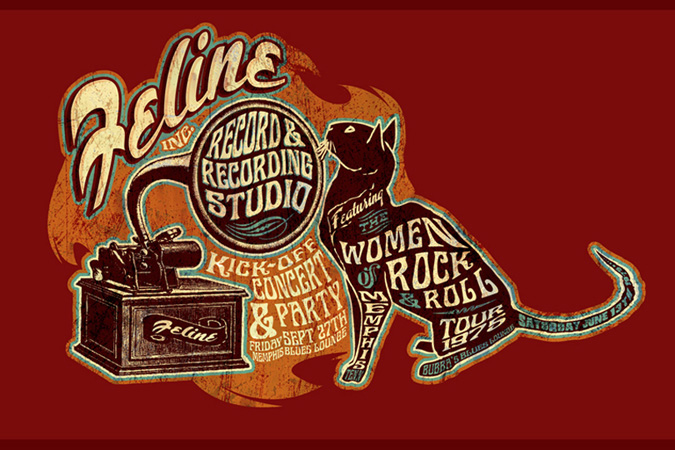 Feline records poster by Greg Dampier - Illustrator & Graphic Artist of Portland, Oregon