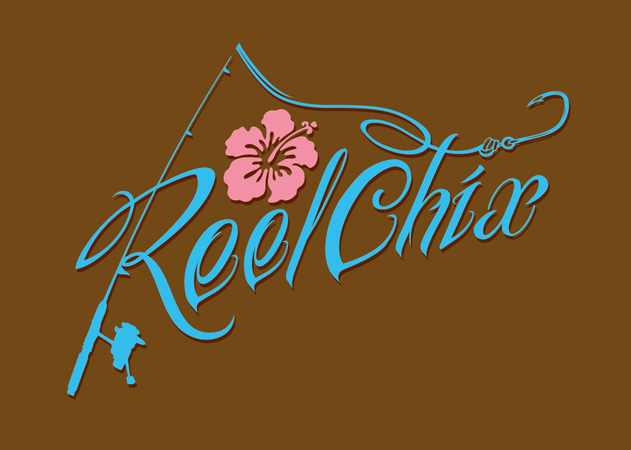 reel chix fishing logo by Greg Dampier - Illustrator & Graphic Artist of Portland, Oregon
