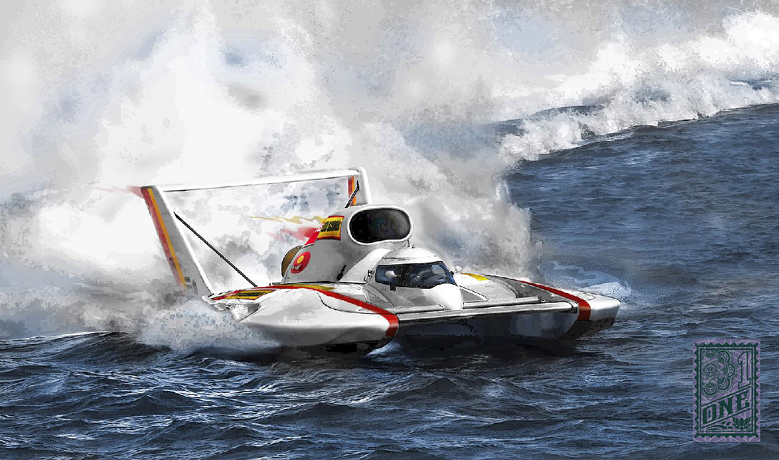 Hyroplane Racing Boat digital painting by Greg Dampier - Illustrator & Graphic Artist of Portland, Oregon