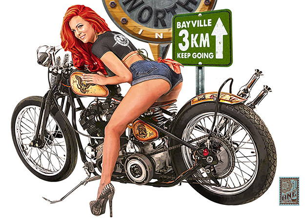 MNorth Biker Girl promo tee close white by Greg Dampier - Illustrator & Graphic Artist of Portland, Oregon