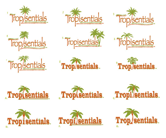 Tropisentials logo designs 1 by Greg Dampier - Illustrator & Graphic Artist of Portland, Oregon
