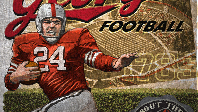 Vintage Georgia Football Poster illustration close 2 by Greg Dampier - Illustrator & Graphic Artist of Portland, Oregon