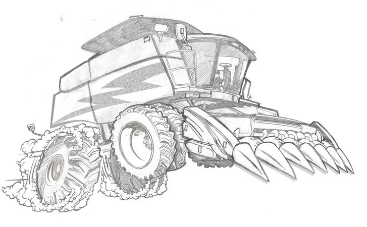 harvester sketch by Greg Dampier - Illustrator & Graphic Artist of Portland, Oregon