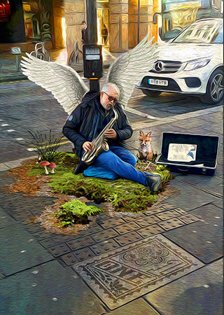 angel sax London by Greg Dampier - Illustrator & Graphic Artist of Portland, Oregon