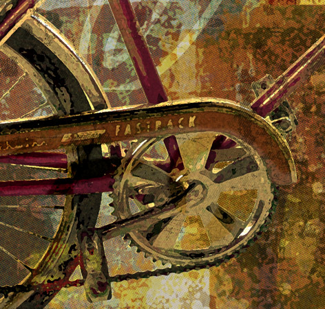 close up of Abstract Sting-Ray Bicycle by Greg Dampier - Illustrator & Graphic Artist of Portland, Oregon