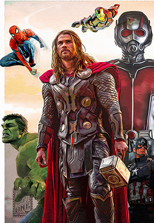 Avengers assemble by Greg Dampier - Illustrator & Graphic Artist of Portland, Oregon