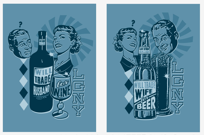 Will Trade Husband/wife for wine/beer by Greg Dampier - Illustrator & Graphic Artist of Portland, Oregon
