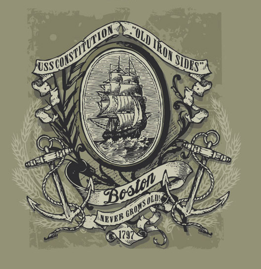 old ironsides boston tee by Greg Dampier - Illustrator & Graphic Artist of Portland, Oregon