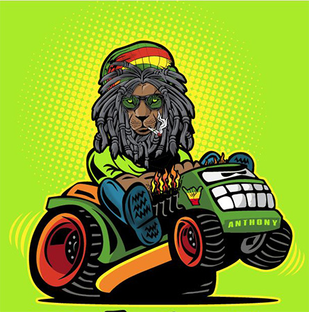 Rasta Lawn Care Tee B close by Greg Dampier - Illustrator & Graphic Artist of Portland, Oregon