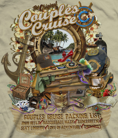 Couples cruise suitcae by Greg Dampier - Illustrator & Graphic Artist of Portland, Oregon