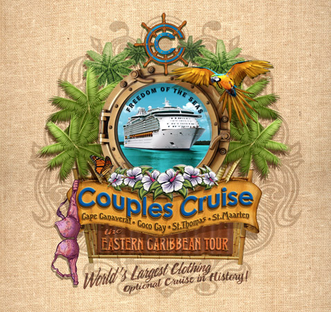 Couples cruise porthole design 4 by Greg Dampier - Illustrator & Graphic Artist of Portland, Oregon