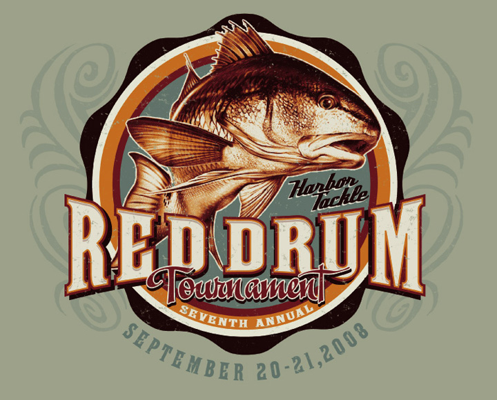 red drum tournament by Greg Dampier - Illustrator & Graphic Artist of Portland, Oregon