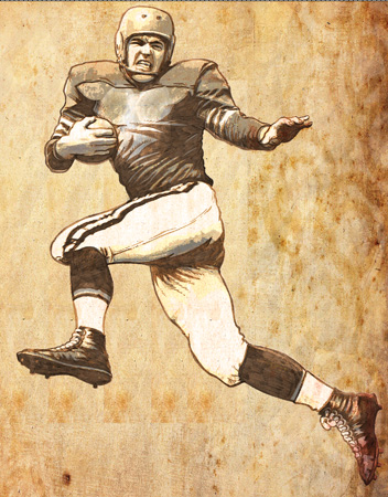 Vintage Football Player comp by Greg Dampier - Illustrator & Graphic Artist of Portland, Oregon