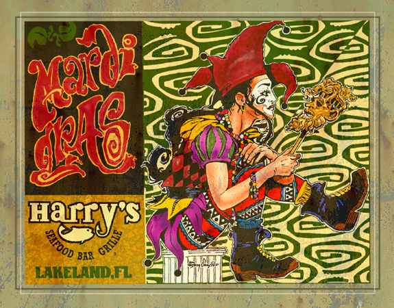 Harrys Mardi Gras by Greg Dampier - Illustrator & Graphic Artist of Portland, Oregon