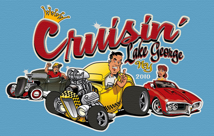 cruisin lake george by Greg Dampier - Illustrator & Graphic Artist of Portland, Oregon