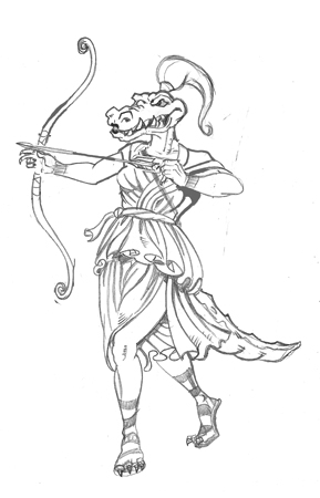 artemis gator sketch by Greg Dampier - Illustrator & Graphic Artist of Portland, Oregon