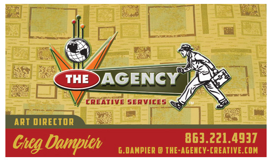 the agency business card by Greg Dampier - Illustrator & Graphic Artist of Portland, Oregon