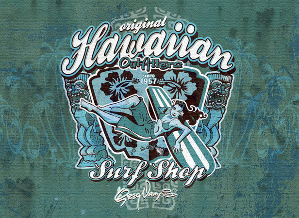 Hawaiian Board Girl blue close by Greg Dampier - Illustrator & Graphic Artist of Portland, Oregon