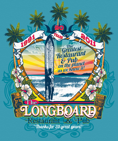 Longboards restaurant and pub by Greg Dampier - Illustrator & Graphic Artist of Portland, Oregon