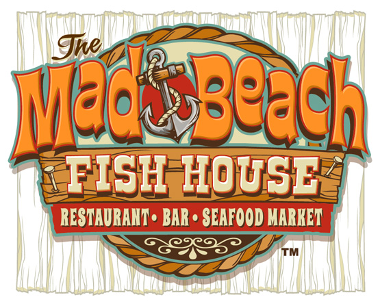 Mad Beach Fish House restaurant logo by Greg Dampier - Illustrator & Graphic Artist of Portland, Oregon